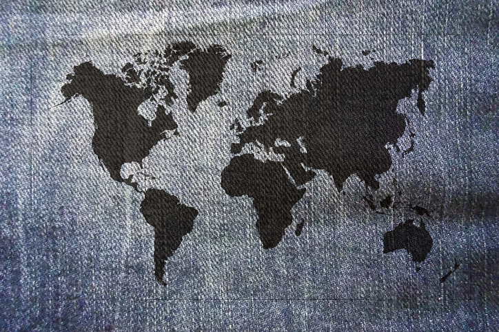 Black world map on jeans